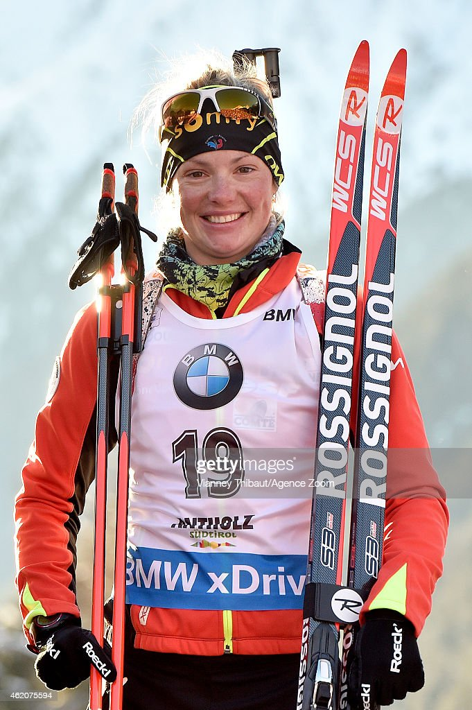 Marie Dorin-Habert of France competes during the IBU Biathlon World Cup Men's and Women's Pursuit on January 24, 2015 in Antholz-Anterselva, Italy.