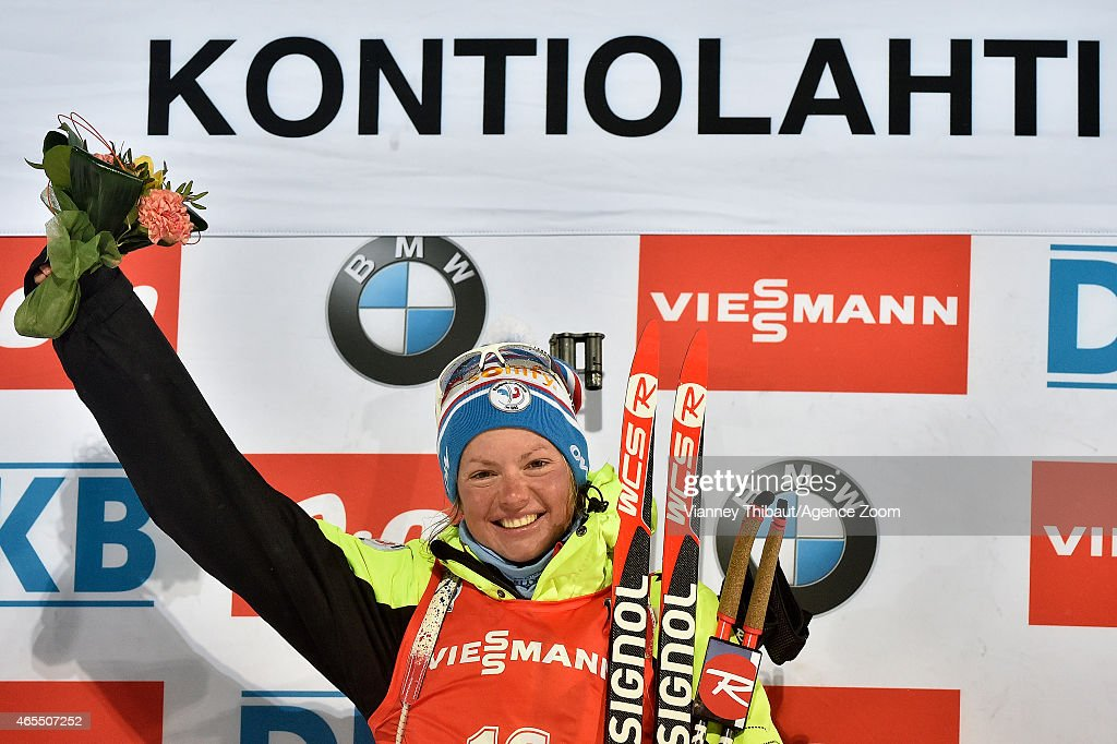 Marie Dorin-Habert of France takes 1st place during the IBU Biathlon World Championships Men's and Women's Sprint on March 07, 2015 in Kontiolahti, Finland.