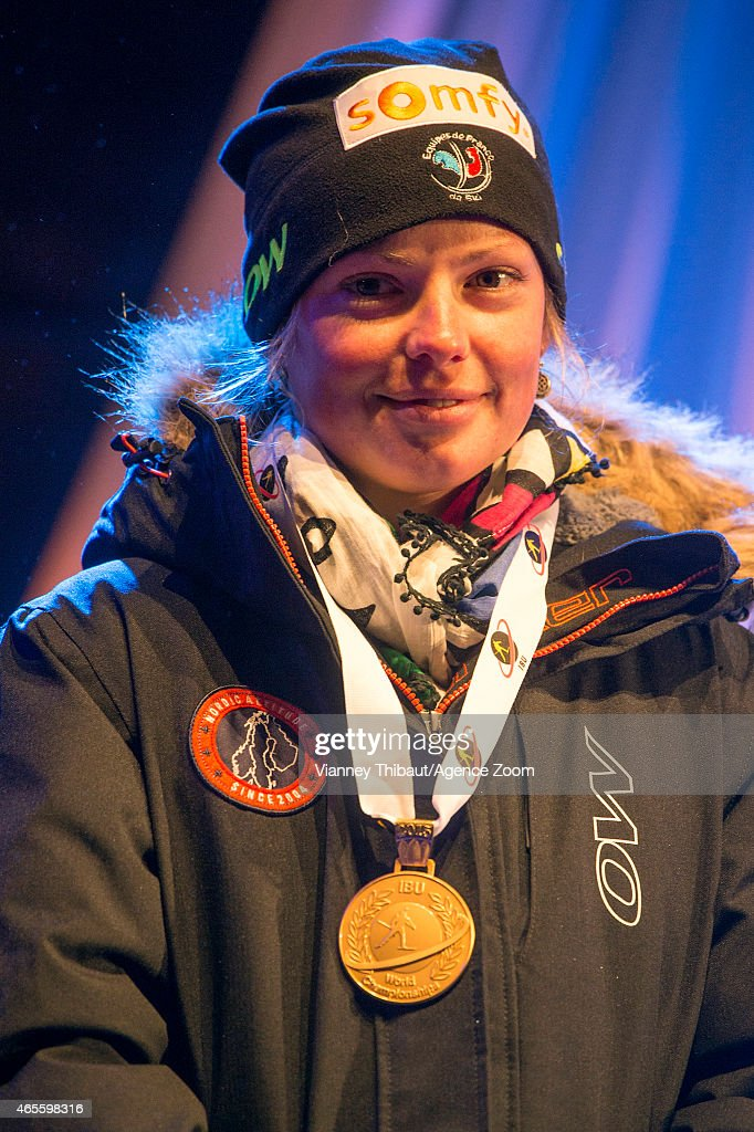 Marie Dorin-Habert of France takes 1st place during the IBU Biathlon World Championships Men's and Women's Pursuit on March 08, 2015 in Kontiolahti, Finland.
