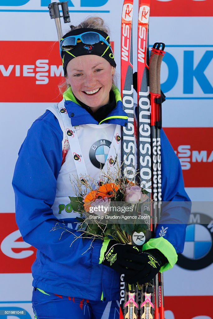 Marie Dorin-Habert of France takes 2nd place during the IBU Biathlon World Cup Men's and Women's Pursuit on December 19, 2015 in Pokljuka, Slovenia.