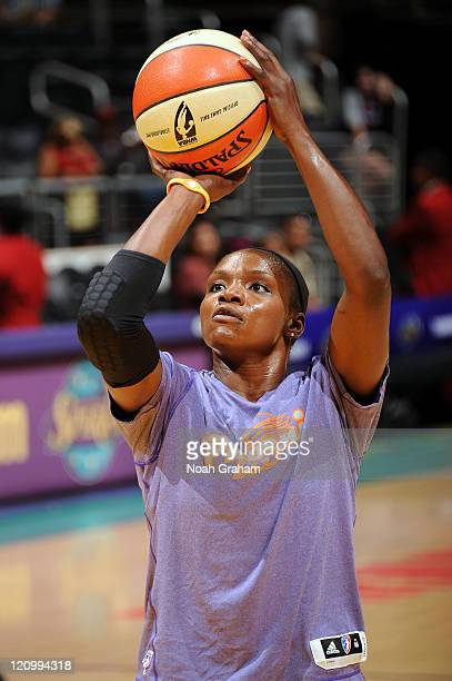 Marie FerdinandHarris of the Phoenix Mercury warms up before the game against of the Los Angeles Sparks at Staples Center on August12 2011 in Los...