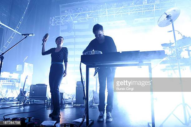Marie Fisker and Trentemoller perform on stage as part of the London Electronic Arts Festival at The Forum on November 7 2013 in London United Kingdom