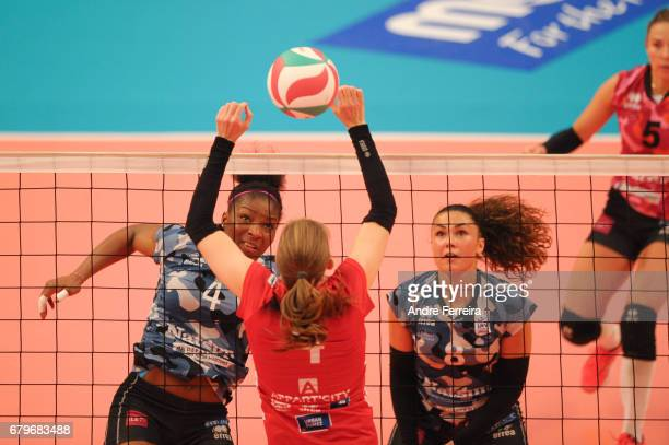 Marie France Garreau Dje of Le Cannet and Petya Barakova of Le Cannet and Angie Bland of ASPTT Mulhouse during the Ligue A Final between ASPTT...