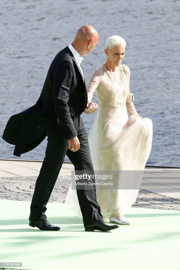 Marie Fredriksson of Roxette (R) departs for the travel by boat to Drottningholm Palace for dinner after the wedding ceremony of Princess Madeleine of Sweden and Christopher O'Neill hosted by King Carl Gustaf XIV and Queen Silvia at The Royal Palace on June 8, 2013 in Stockholm, Sweden.