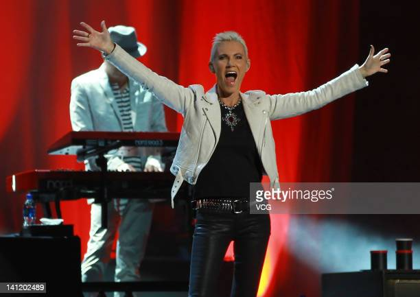 Marie Fredriksson of Roxette performs on stage at MasterCard Center on March 12 2012 in Beijing China
