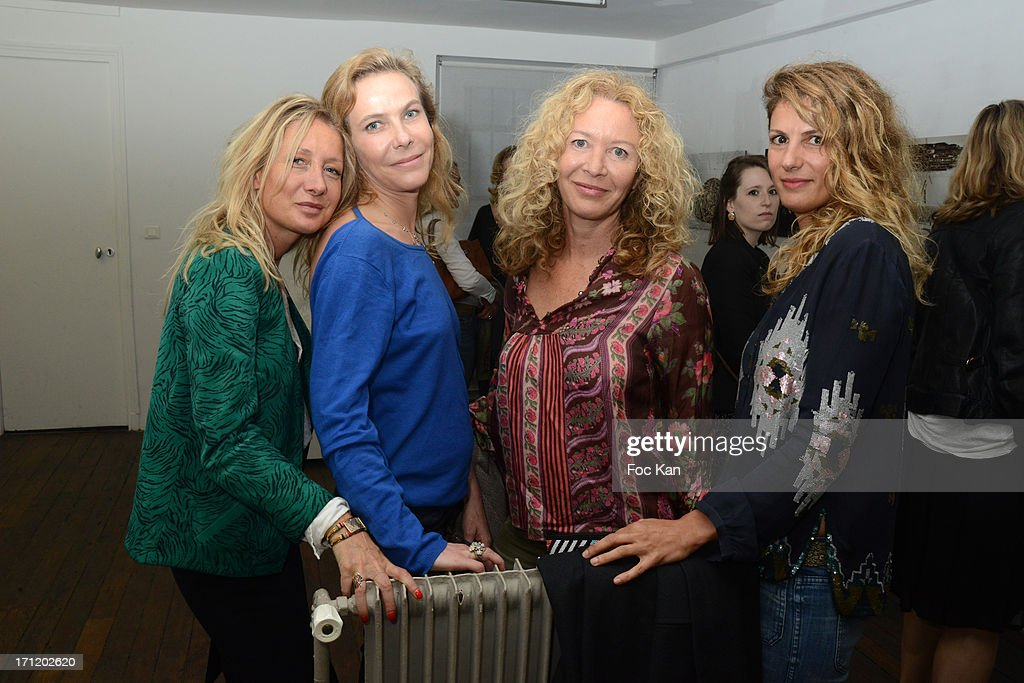 Marie Gas, PR Anne Colombe De La Taille, painter Kathy WolffÊand Vanessa Virag attend 'Les Bains Residence d'Artistes' Exhibition Preview And Book Launch at the Galerie Magda Danysz on June 22, 2013 in Paris, France.