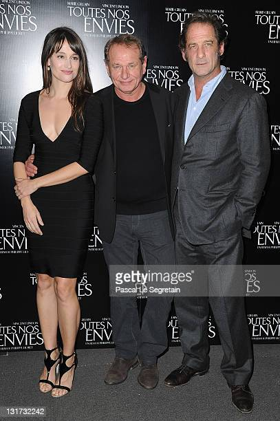 Marie Gillain Philippe Lioret and Vincent Lindon attend the Paris Premiere of 'Toutes Nos Envies' on November 7 2011 in Paris France