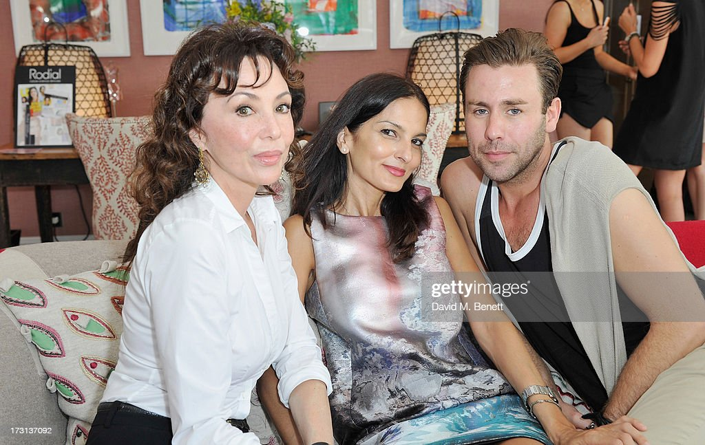 Marie Helvin, Yasmin Mills and Jack French attend Mary Katrantzou for Rodial candle launch party at Soho Hotel on July 8, 2013 in London, England.