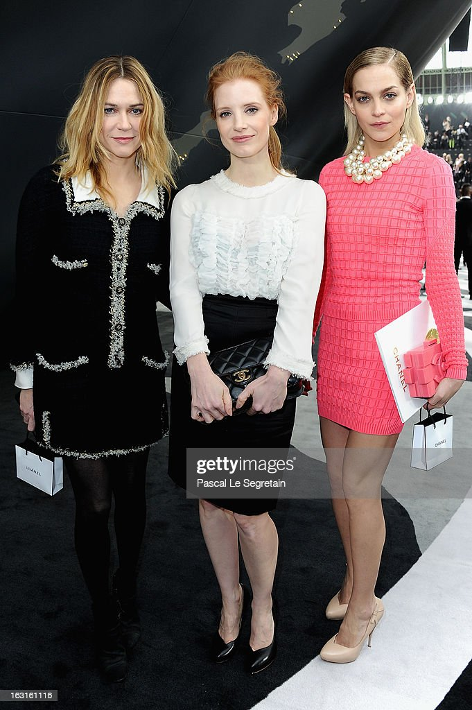 Marie Jose Croze, Jessica Chastain and Leigh Lezark attend the Chanel Fall/Winter 2013 Ready-to-Wear show as part of Paris Fashion Week at Grand Palais on March 5, 2013 in Paris, France.
