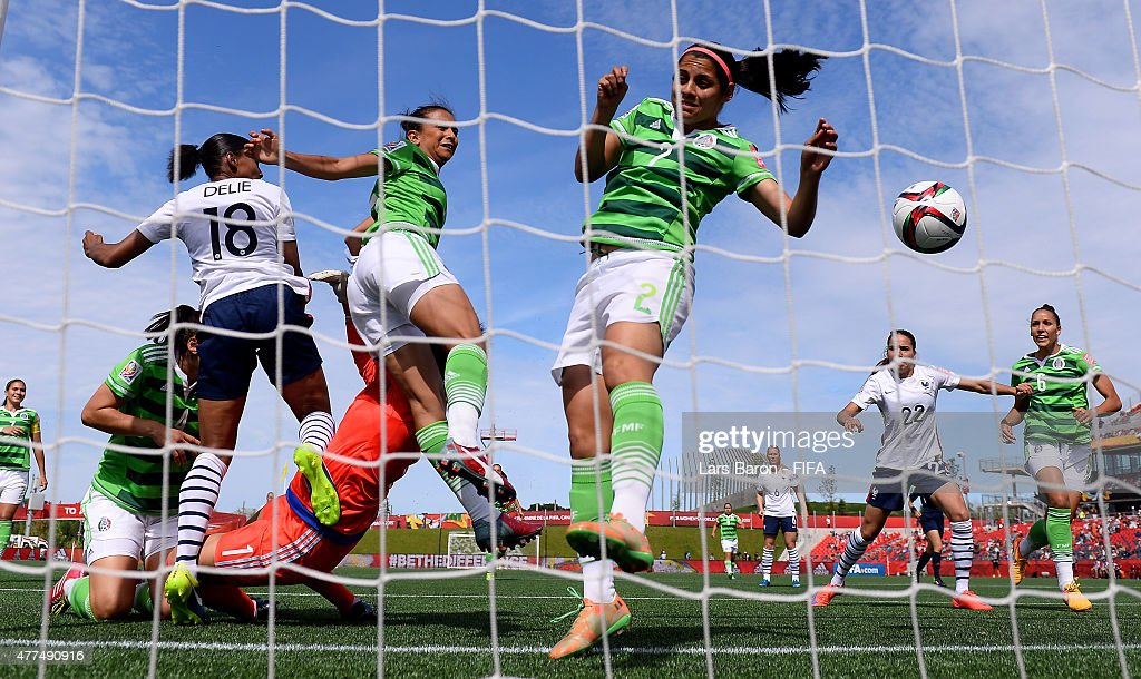 Marie Laure Delie of France heads her teams first goal during the FIFA Women's World Cup 2015 Group F match between Mexico and France at Lansdowne Stadium on June 17, 2015 in Ottawa, Canada.