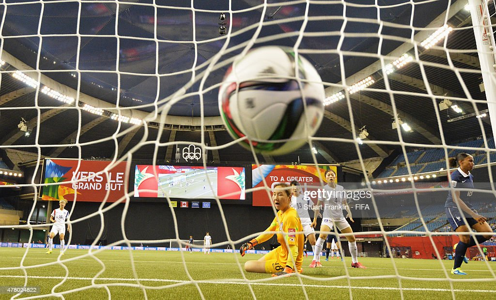 Marie Laure Delie of France scores the third goal during the FIFA Womens's World Cup round of 16 match between France and Korea at Olympic Stadium on June 21, 2015 in Montreal, Canada.