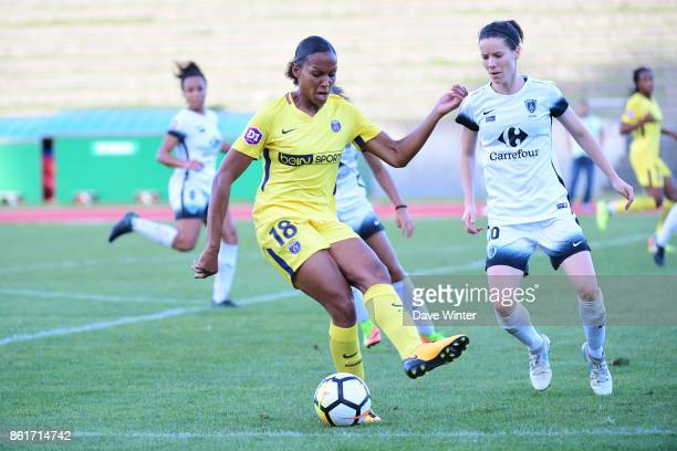 Marie Laure Delie of PSG and Anaig Butel of Paris FC during the women's Division 1 match between Paris FC and Paris Saint Germain on October 15 2017...