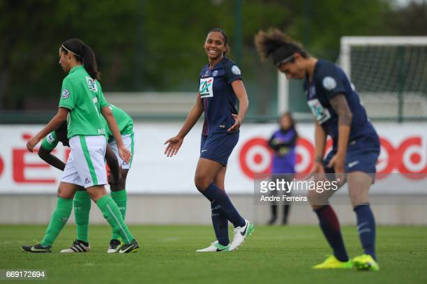 Marie Laure Delie of PSG and Cristiane Rozeira of PSG look dejected during the women's National Cup match between Paris Saint Germain PSG and AS...