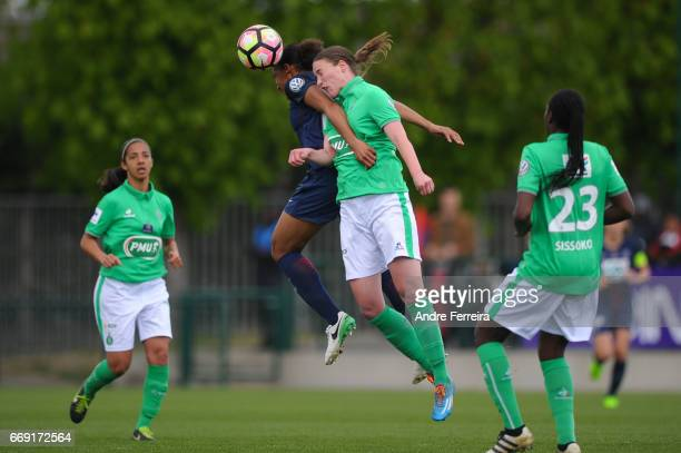 Marie Laure Delie of PSG and Marion Boishardy of Saint Etienne during the women's National Cup match between Paris Saint Germain PSG and AS Saint...