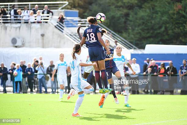 Marie Laure Delie of PSG heads the only goal of the game during the women's French D1 league match between PSG and Olympique de Marseille at Camp des...