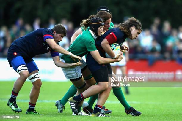 Marie Louise Reilly of Ireland tackles Annaelle Desheys of France during the Women's Rugby World Cup Pool C match between France and Ireland at UCD...