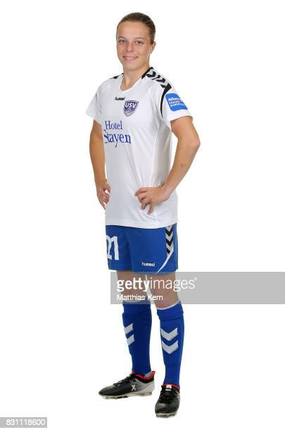 Marie Luise Herrmann of FF USV Jena poses during the Allianz Frauen Bundesliga Club Tour at Ernst Abbe Sportfeld on August 11 2017 in Jena Germany