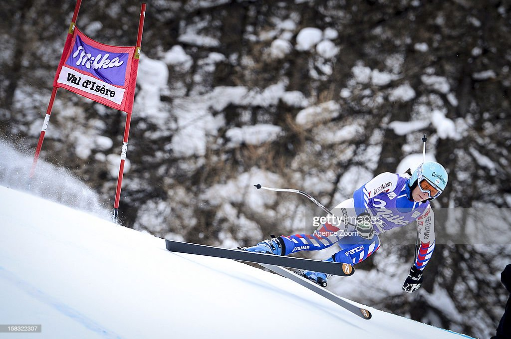 Marie Marchand Arvier of France competes during the Audi FIS Alpine Ski World Cup Women's Downhill training on December 13, 2012 in Val-d'Isere, France.