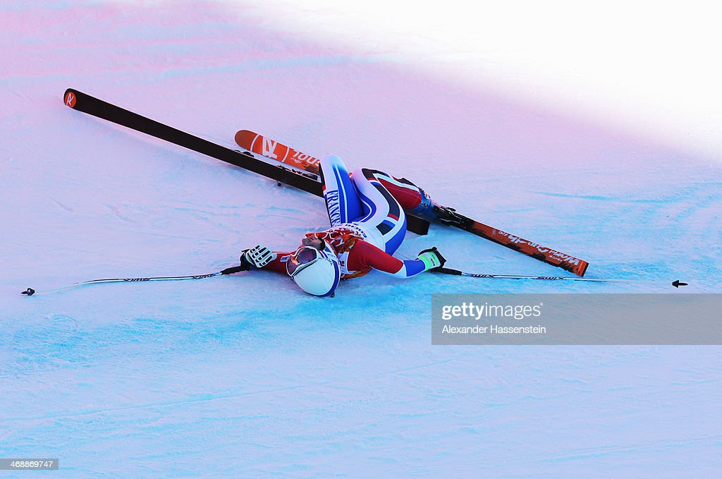 <a gi-track='captionPersonalityLinkClicked' href=/galleries/search?phrase=Marie+Marchand-Arvier&family=editorial&specificpeople=722482 ng-click='$event.stopPropagation()'>Marie Marchand-Arvier</a> of France crashes during a run in the Alpine Skiing Women's Downhill on day 5 of the Sochi 2014 Winter Olympics at Rosa Khutor Alpine Center on February 12, 2014 in Sochi, Russia.