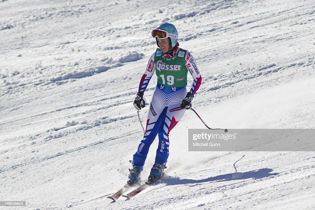 Marie Marchand-Arvier of France skies downdafter she crashed on the Kandahar course while competing in the Audi FIS Alpine Ski World Cup downhill race on January 12, 2013 in St Anton, Austria.