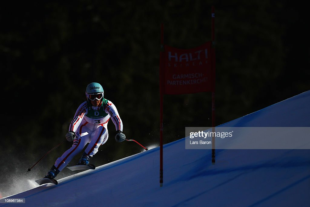 <a gi-track='captionPersonalityLinkClicked' href=/galleries/search?phrase=Marie+Marchand-Arvier&family=editorial&specificpeople=722482 ng-click='$event.stopPropagation()'>Marie Marchand-Arvier</a> of France skis in the Women's Downhill Training during the Alpine FIS Ski World Championships on the Kandahar course on February 10, 2011 in Garmisch-Partenkirchen, Germany.
