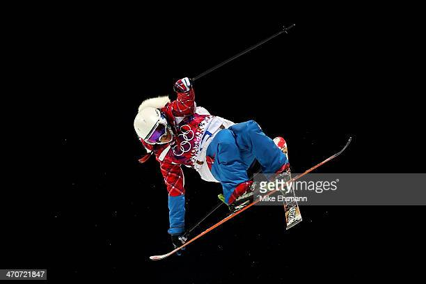 Marie Martinod of France competes in the Freestyle Skiing Ladies' Ski Halfpipe Qualification on day thirteen of the 2014 Winter Olympics at Rosa...