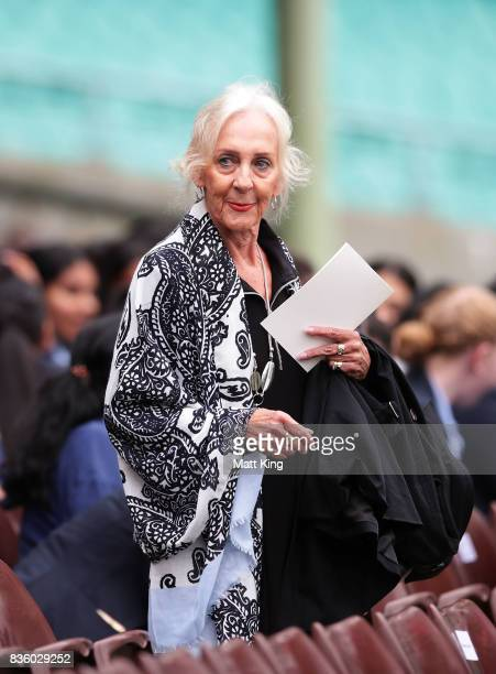 Marie 'Midge' Cuthbert the twin sister of Betty Cuthbert arrives during a State Memorial service for Betty Cuthbert at Sydney Cricket Ground on...