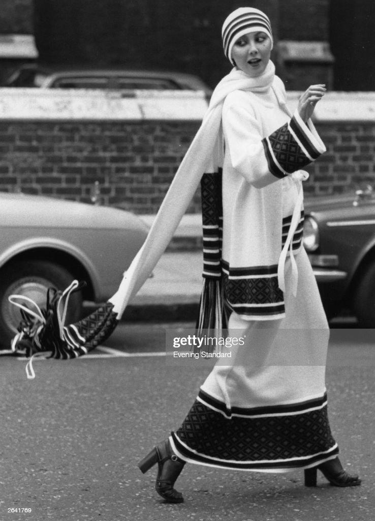 Marie modelling the luxury knitwear of designer John Bates.