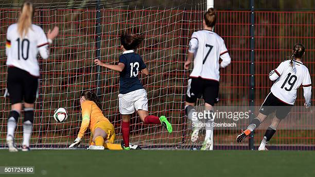 Marie Mueller of Germany scores her team's second goal during the U17 girl's international friendly match between Germany and France on December 17...