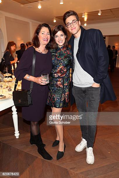 Marie Nasemann and her mother Andrea Nasemann and her brother Moritz during the Swarovski World Jewelry Facets exhibition at Villa Wagner on November...