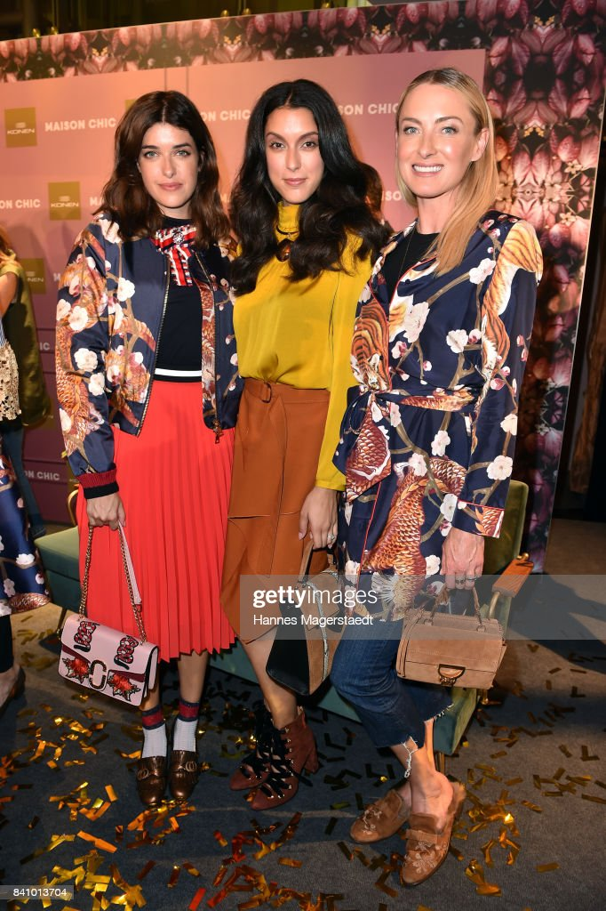 Marie Nasemann, Rebecca Mir and Prinzessin Lilly Sayn-Wittgenstein during the Maison Chic event at KONEN on August 30, 2017 in Munich, Germany.