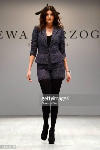 Marie Nasemann walks the runway at the Ewa Herzog show during MercedesBenz Fashion Week Autumn/Winter 2014/15 at Brandenburg Gate on January 17 2014...