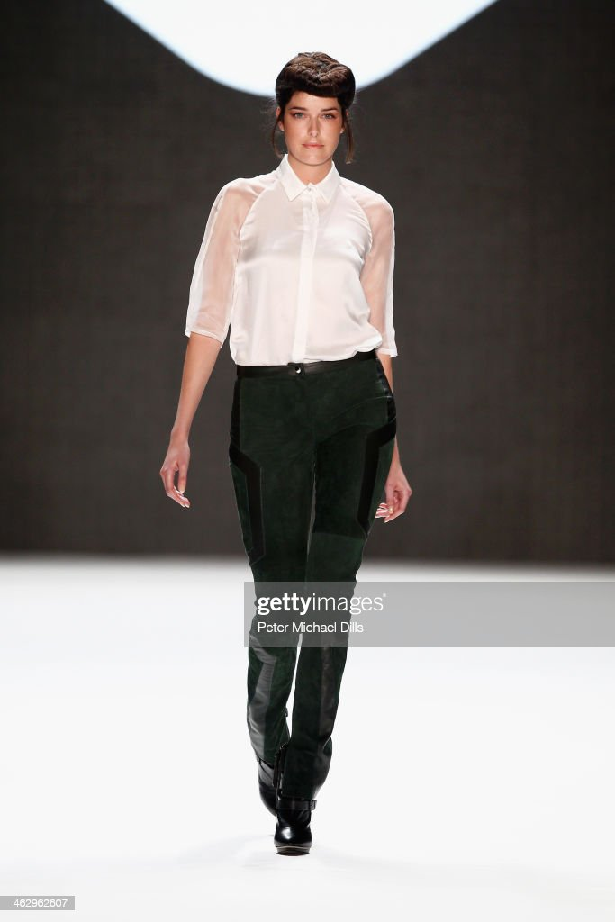 <a gi-track='captionPersonalityLinkClicked' href=/galleries/search?phrase=Marie+Nasemann&family=editorial&specificpeople=5841756 ng-click='$event.stopPropagation()'>Marie Nasemann</a> walks the runway at the Glaw show during Mercedes-Benz Fashion Week Autumn/Winter 2014/15 at Brandenburg Gate on January 16, 2014 in Berlin, Germany.