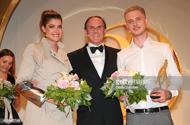 Marie Nasemann Winner HSE24 Talent Award Lars Harre Richard Reitzner CEO HSE24 during the 20 year anniversary event of the home shopping channel...