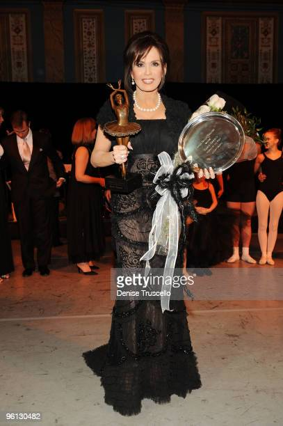 Marie Osmond poses for photos with her 2010 Woman of the Year award given to her by The Nevada Ballet Theater at The Paris Hotel and Casino Resort on...