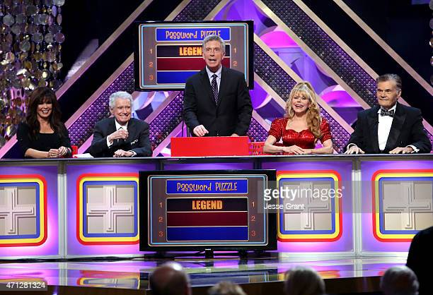 Marie Osmond Regis Philbin Tom Bergeron Charo and Fred Willard onstage during The 42nd Annual Daytime Emmy Awards at Warner Bros Studios on April 26...