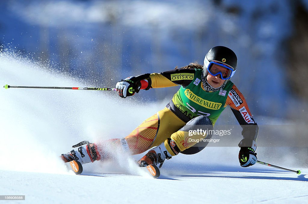Marie Pier Prefontaine of Canada skis her first run en route a 13th place finish in the women's giant slalom at the Nature Valley Aspen Winternational Audi FIS Ski World Cup at Aspen Mountain on November 24, 2012 in Aspen, Colorado.