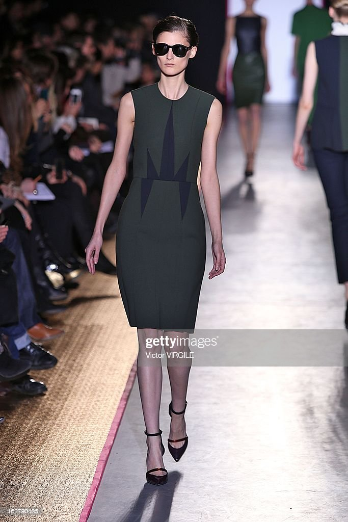 Marie Piovesan walks the runway during the Cedric Charlier Fall/Winter 2013/14 Ready-to-Wear show as part of Paris Fashion Week on February 26, 2013 in Paris, France.