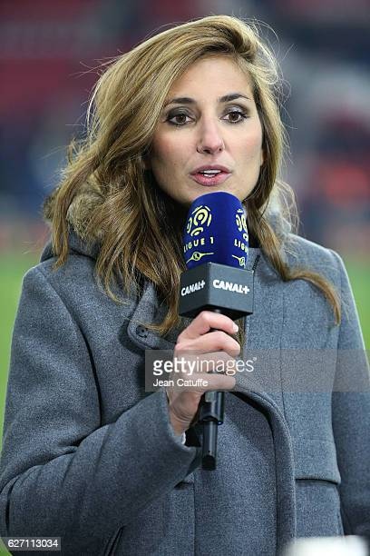 Marie Portolano of Canal Plus comments the French Ligue 1 match between Paris SaintGermain and SCO Angers at Parc des Princes on November 30 2016 in...