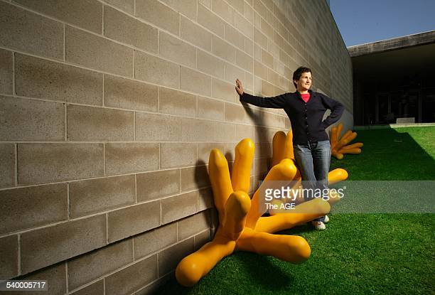 Marie Sierra with her sculpture called Meme one of the sculptures entered in the The McClelland Contemporary Sculpture Survey Award 10 November 2005...