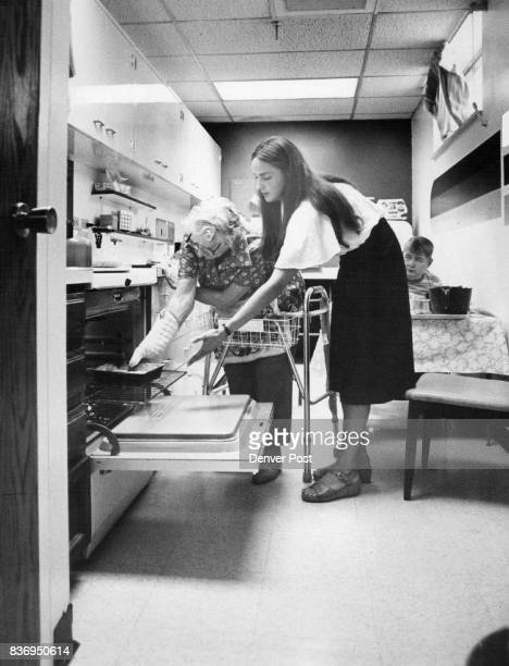 Marie Smith Does Her First Baking Using A Walker Karen Valish right offers suggestions on safe use of the oven Credit Denver Post