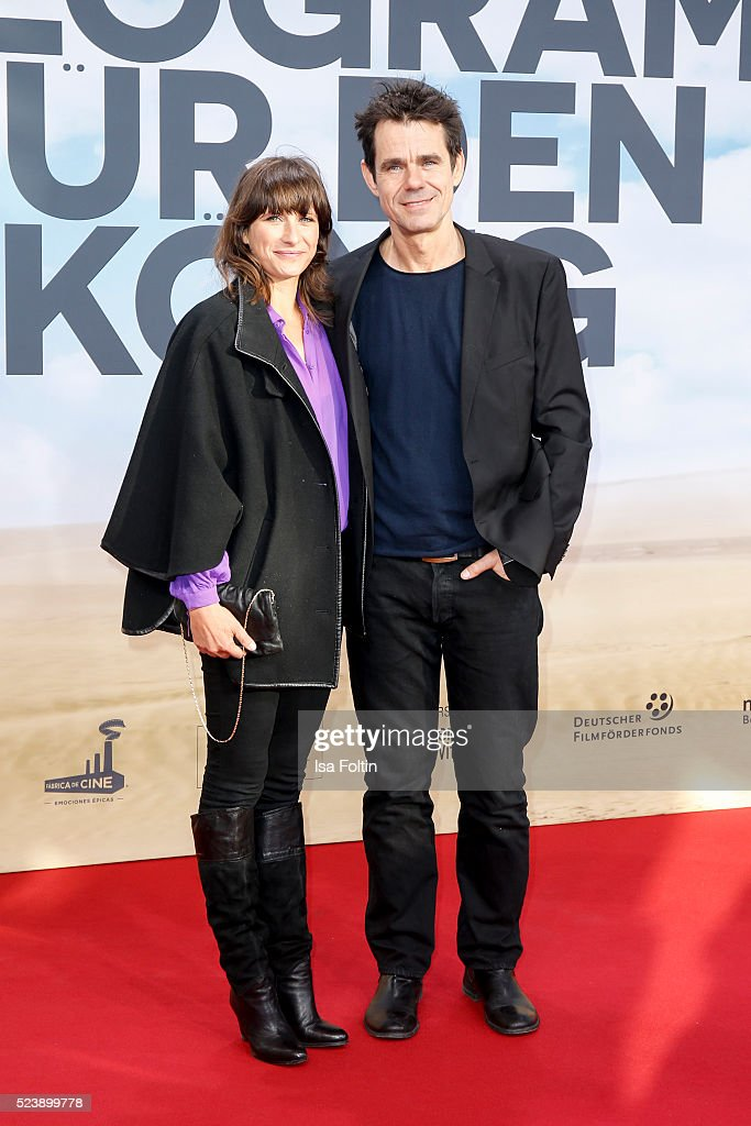 Marie Steinmann and producer Tom Tykwer attend the German premiere for the film 'A Hologram for the King' at Zoopalast on April 24 2016 in Berlin...