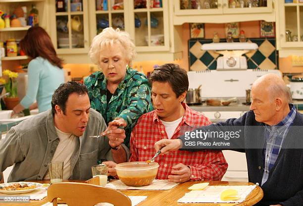 Marie takes care of the three men in her life on the May 16 series finale of EVERYBODY LOVES RAYMOND From left to right Brad Garrett Doris Roberts...