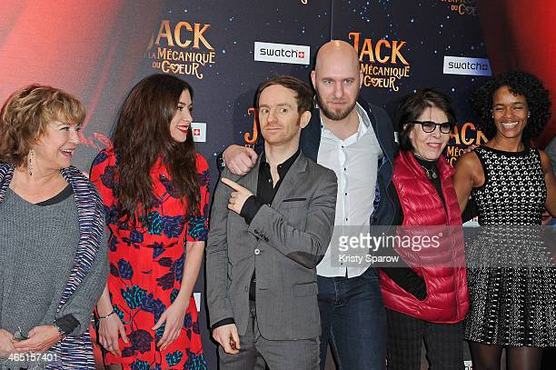 Marie Vincent Olivia Ruiz Mathias Malzieu Stephane Berla Dani and Virginie Besson attend the 'Jack Et La Mecanique Du Coeur' Paris Premiere at UGC...