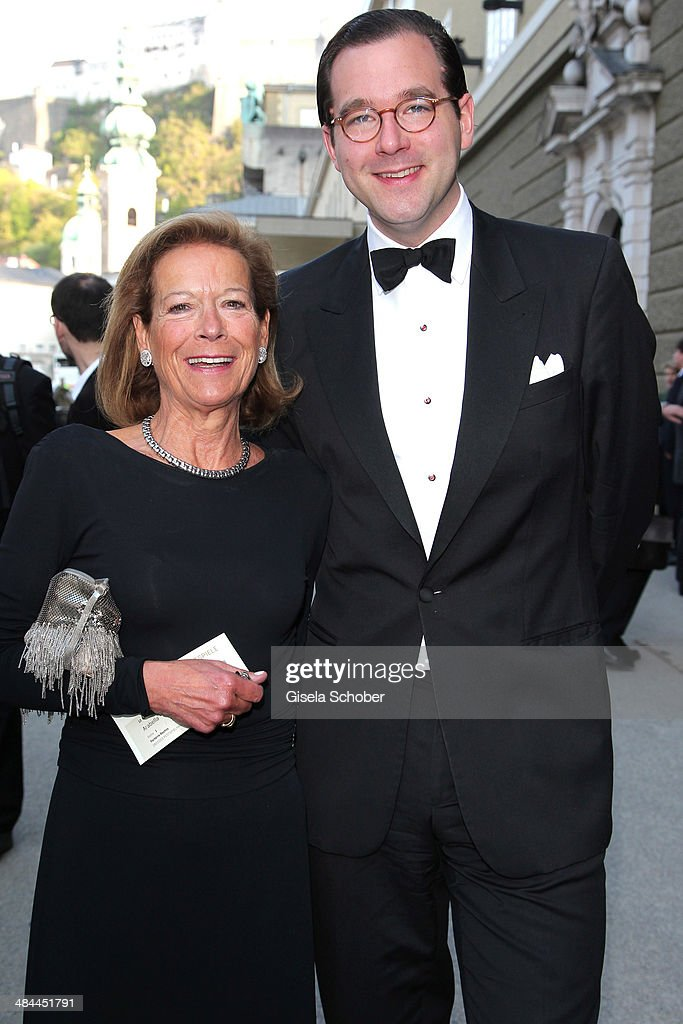 Marie Waldburg and her son Max Waldburg attend the opening of the easter festival 2014 (Osterfestspiele) on April 12, 2014 in Salzburg, Austria.