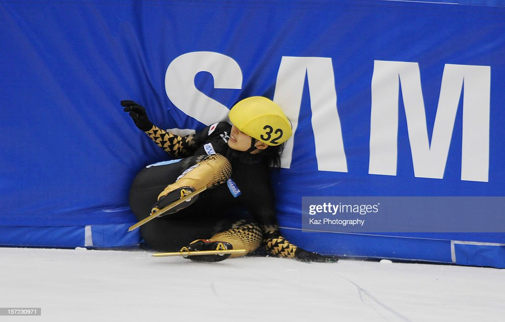 Marie Yoshida of Japan falls down in Race 3 of Ladies 1500m(2) Heats during day one of the ISU World Cup Short Track at Nippon Gaishi Arena on November 30, 2012 in Nagoya, Japan.