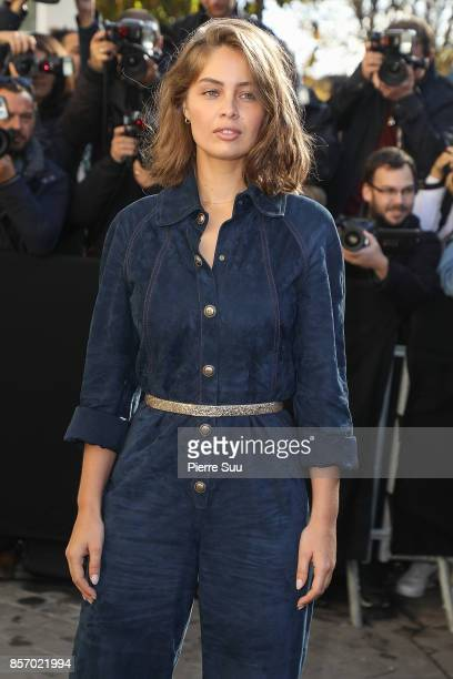 MarieAnge Casta arrives at the Chanel show as part of the Paris Fashion Week Womenswear Spring/Summer 2018 on October 3 2017 in Paris France