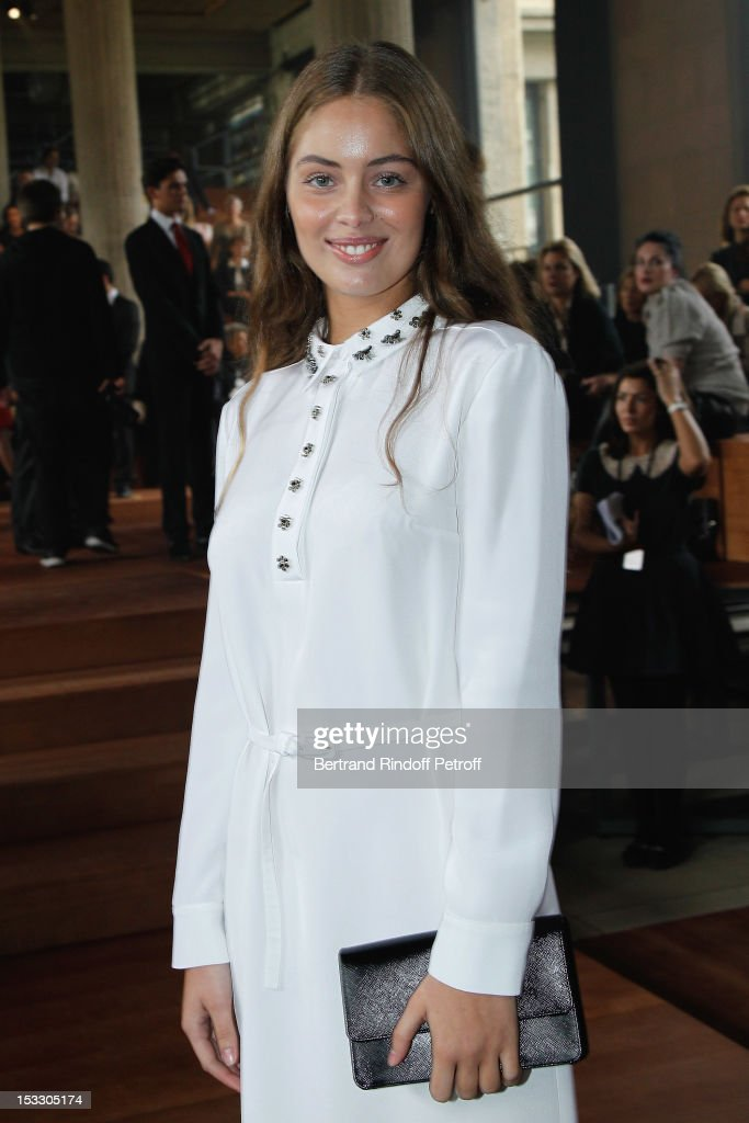 Marie-Ange Casta attends the Miu Miu Spring/Summer 2013 show as part of Paris Fashion Week on October 3, 2012 in Paris, France.