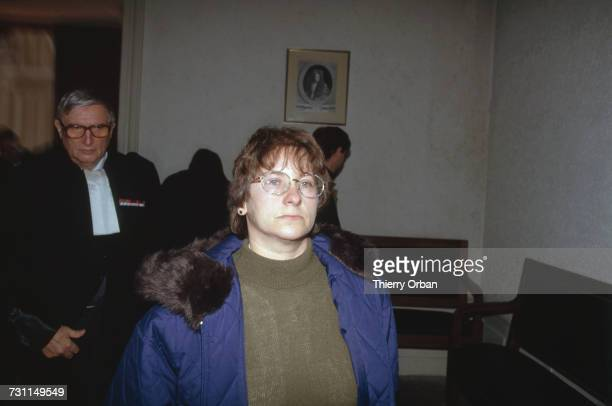 MarieAnge Laroche and her lawyer Paul Prompt at the trial of JeanMarie Villemin in Dijon France 12th November 1993 Laroche is the widow of Bernard...