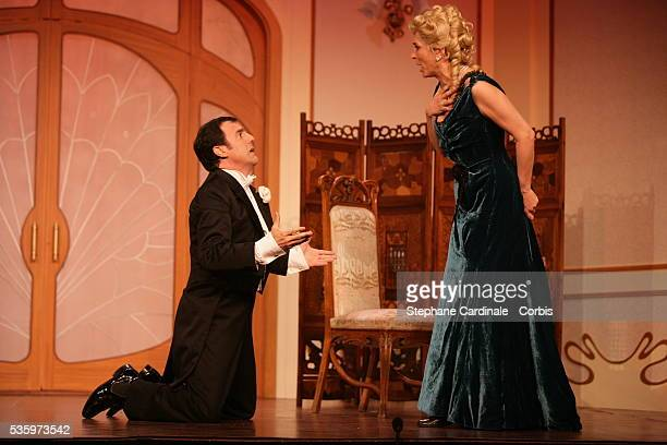 MarieAnge Nardi and Thierry Beccaro as Lucette Gautier and Fernand de Bois d'Enghien in the play 'Un Fil à la Patte' by Feydeau adapted by Olivier...